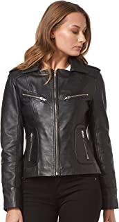 Rider Chaqueta de Cuero Real para Mujer Fashion Black Washed Biker Motorcycle Style 9823