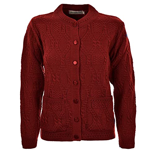 eafd74aa70 Miss Trendy Womens Ladies Knitted Crew Neck Pocket Front Button Up Aran  Cardigan UK 10-