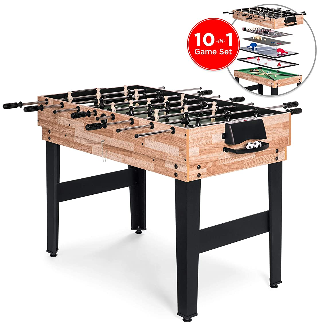 Best Choice Products 2x4ft 10-in-1 Combination Interchangeable Game Table Set w/Billiards, Foosball, Ping Pong, Push Hockey, Chess, Checkers, Bowling, Shuffleboard, Backgammon, Cards