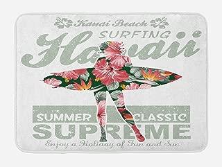 Lunarable Hawaiian Bath Mat, Tropical Hawaii Hibiscus Surfing Girl Silhouette Surfboard Retro Themed Artprint, Plush Bathroom Decor Mat with Non Slip Backing, 29.5