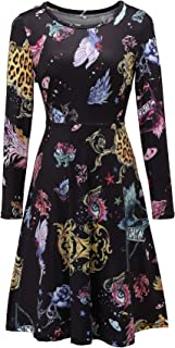 Women's Long Sleeve Summer Floral Casual Dress Flare Midi Dresses