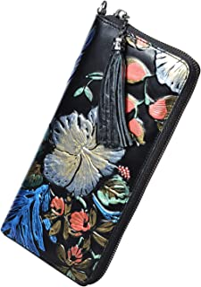 Leather Wallets For Women Floral Wristlet Wallet Card Holder Purse