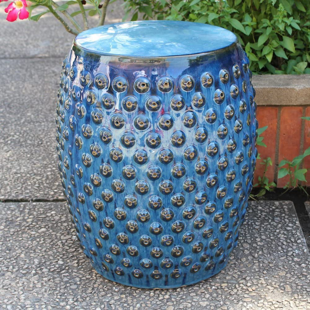 International Caravan Furniture Piece Dedication Excellent Navy Blue Drum Perforated