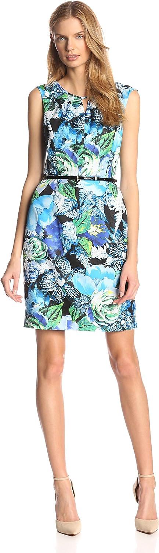 ELLEN TRACY Women's Floral Print Dress with Belt
