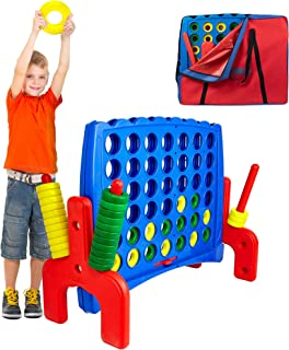 Giant 4 in a Row Connect Game Jr. - Storage Carry Bag Included - Nearly 3 Feet Tall Large Indoor and Outdoor Family Party Game for Kids and Adults - Easy Assembly – Durable Weatherproof