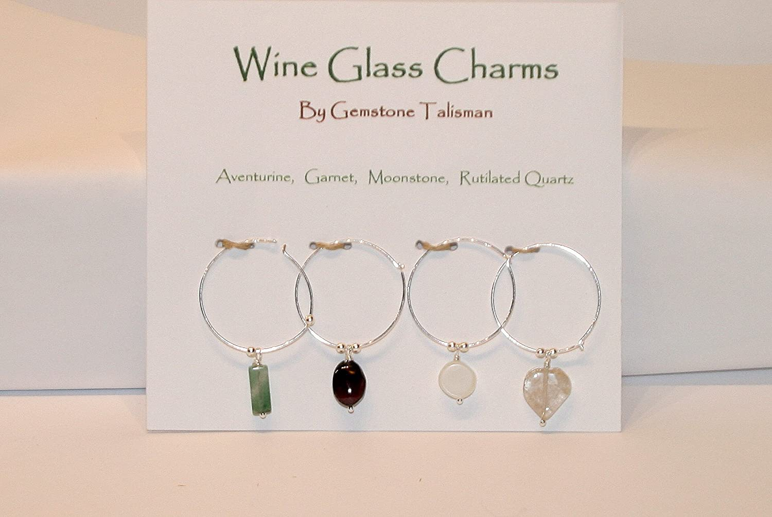 Wine Glass Tampa Mall Charms - Natural Gemstone and excellence o Set Silver Sterling