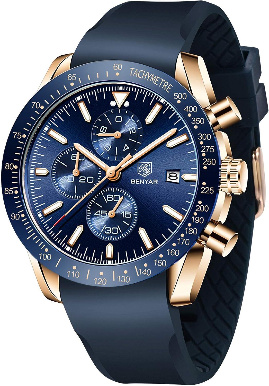 BENYAR Fashion Limited time sale Men's Quartz Waterproof Cheap SALE Start Watc Chronograph Silicone