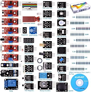 kuman K5-USFor Arduino Raspberry pi Sensor kit, 37 in 1 Robot Projects Starter Kits with Tutorials for Arduino Uno RPi 3 2 Model B B+ K5