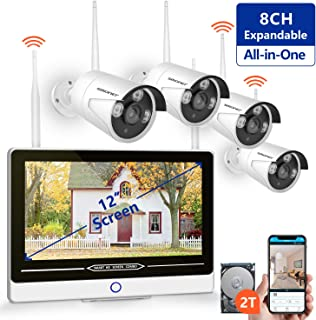 """SMONET All in One with 12"""" Monitor 1080P Security Camera System Wireless,8-Channel Outdoor Home Camera System(2TB Hard Drive),4pcs 2.0MP(1080P) Waterproof Wireless IP Cameras,P2P,Free APP"""