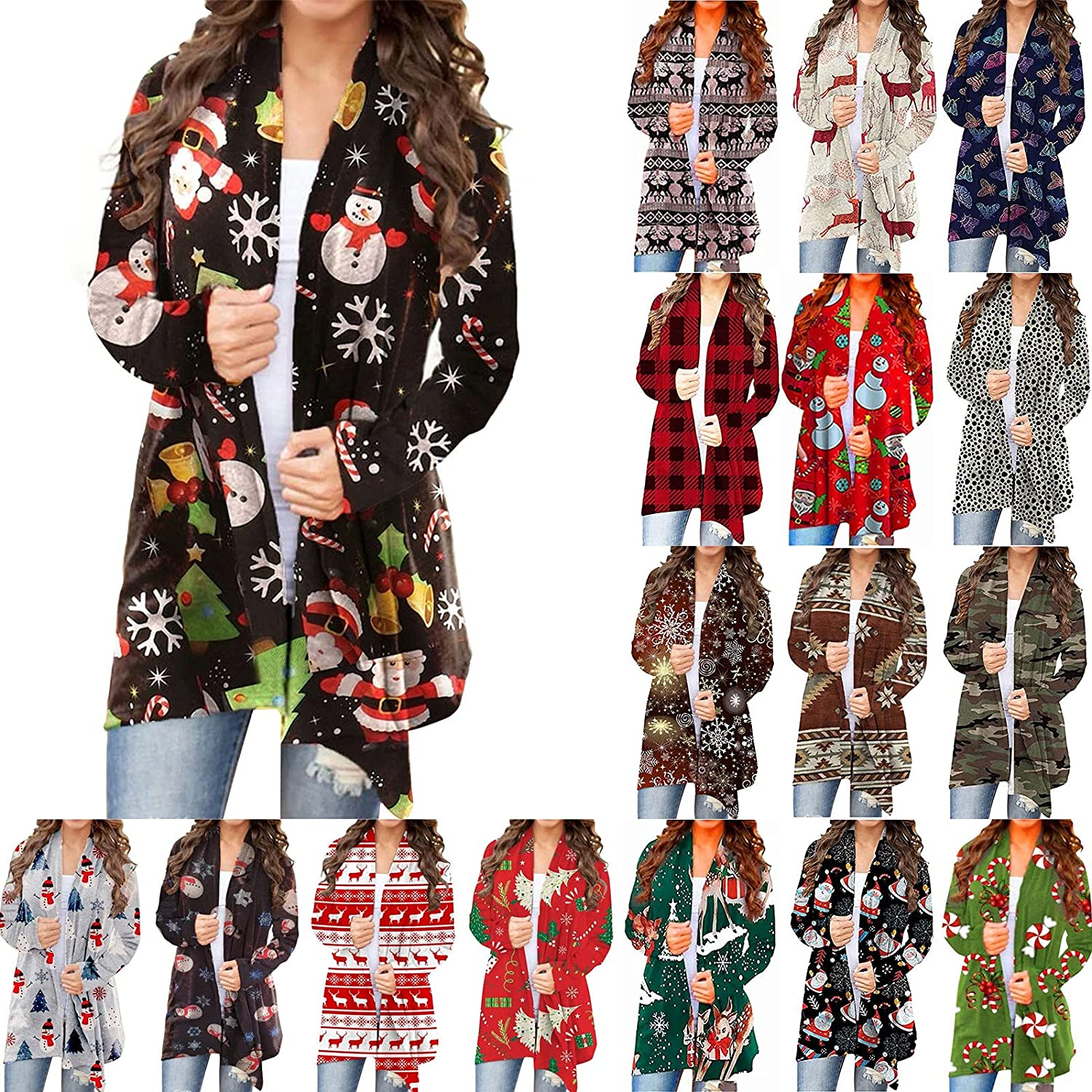 VonVonCo Cardigan Sweaters for Women Coat Christmas Open Front Long Sleeve Blouses Coat Casual Jacket