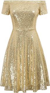 GRACE KARIN Women's Sequin Bridesmaid Dress Short Sleeve Off Shoulder Pleated Dress
