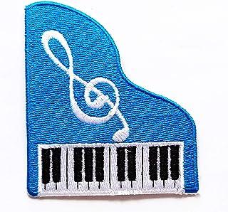 Pretty Cute Blue Piano Music Note Patch Piano Keyboard Carto