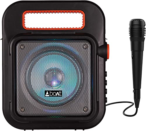 boAt PartyPal 20 Wireless Party Speaker, Party Sound (15W), BT 5.0/Aux/USB/Radio, Integrated Controls, Free Microphon...