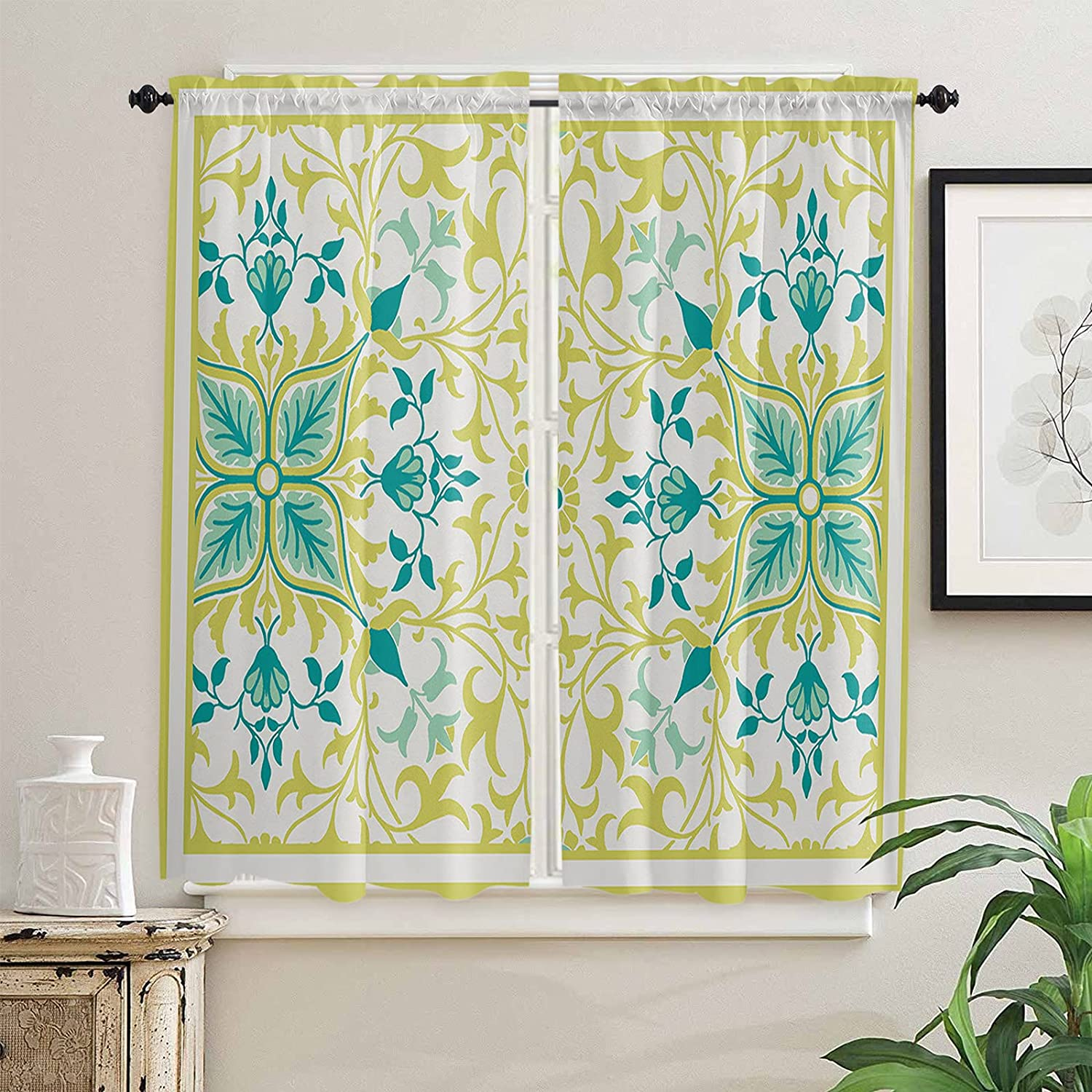 Geometry Greenery Yellow free shipping Vines Cheap mail order sales Kitchen Length Inch f Curtains 63