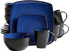 Gibson Elite Soho Lounge Reactive Glaze 16 قطعه ظروف غذاخوری مجموعه ای در آبی؛ شامل 4 تخته شام است 4 دسر، 4 ظرف و 4 لیوان