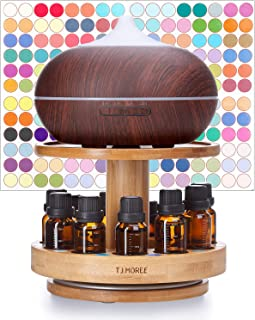 TJ.MOREE Bamboo Diffuser Holder Carousel- 2 Tier Height Increase Rack with Upper Tray for Holding Diffuser, for 5ml, 10ml, 15ml, 20ml Essential Oils Bottles