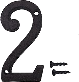 Sponsored Ad - 3 Inch Wrought Iron House Number, Matching Screws Included Black Number 2