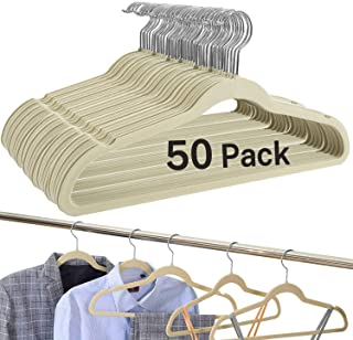 BAGAIL Ivory Velvet Hangers,Non Slip Notched Coat/Suit Hangers,Heavy Duty Space Saving Clothes Hangers with 360 Degree Swi...