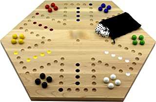 Solid Maple Double Sided Aggravation Marbles Board Game Hand Painted 20 inch by Cauff