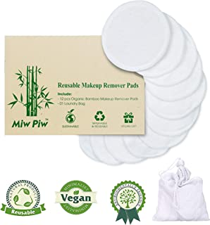 Reusable Cotton Pads Face | Pack 13 include 12 pcs Washable Makeup Remover & Laundry Bag | Organic Skincare Cleaning Bamboo Cloth Rounds Facial Wipes Eye Lip (13 pcs)