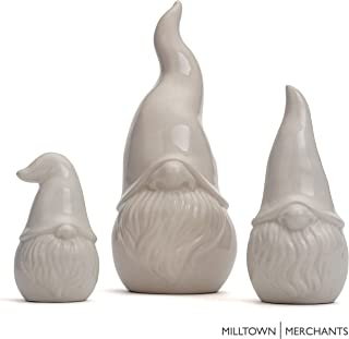 Milltown Merchants trade; Ceramic Gnomes - White Contemporary Gnomes - Set of 3 - Garden Gnome Home Decor - Indoor/Outdoor Gnome Assortment