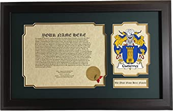 Gutiérrez - Coat of Arms and Last Name History, 14x22 Inches Matted and Framed
