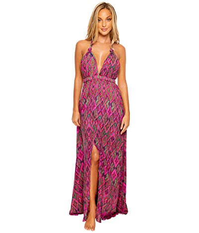 Luli Fama Vamos A Cabos Plunge Halter Long Dress Cover-Up (Multicolor) Women