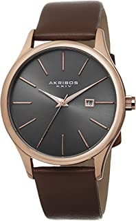 Akribos XXIV Men's Analogue Display Japanese Quartz Watch with Leather Strap
