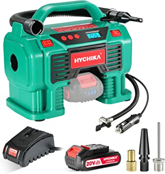 Air Compressor Tire Inflator, HYCHIKA 160PSI Portable Inflator with Pressure Gauge, 12V DC/20V 2.0Ah Battery Dual Power Supply, 1H Fast Charger, LED Light for Tires Balls and Other Inflatables: image
