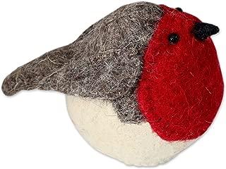 NOVICA Handmade Felted Wool Woodland Bird Tree Topper Ornament, Robin Delight'