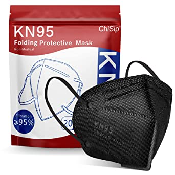 ChiSip KN95 Face Mask 20 PCs, 5-Ply Cup Dust Safety Masks, Breathable Protection Masks Against PM2.5 for Men & Women Filter Efficiency≥95%, Black