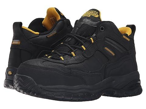 Skechers for Work Men's Soft Stride Gilbe Slip Resistant Boot, Dark Brown - 7.5 D(M) US