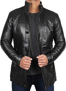 Blingsoul Black Leather Car Coat - Brown 100% Real Leather Coats for Men