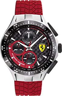 Men's Race Day Stainless Steel Quartz Watch with Silicone Strap, Red, 22 (Model: 0830697)