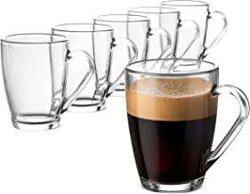 Bormioli Rocco Glass Coffee Mug Set, (6 Pack) Medium 10¾ Ounce with Convenient Handle, Tea Glasses for Hot/Cold Beverages,...