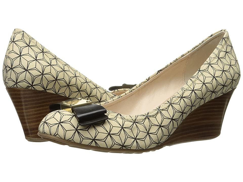 Cole Haan Tali Grand Bow Wedge 65 (Ivory/Black Prism Print) Women's Wedge Shoes, Yellow