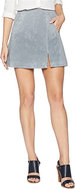 Grey Suede Mini Skirt with Side Slit in London Fog