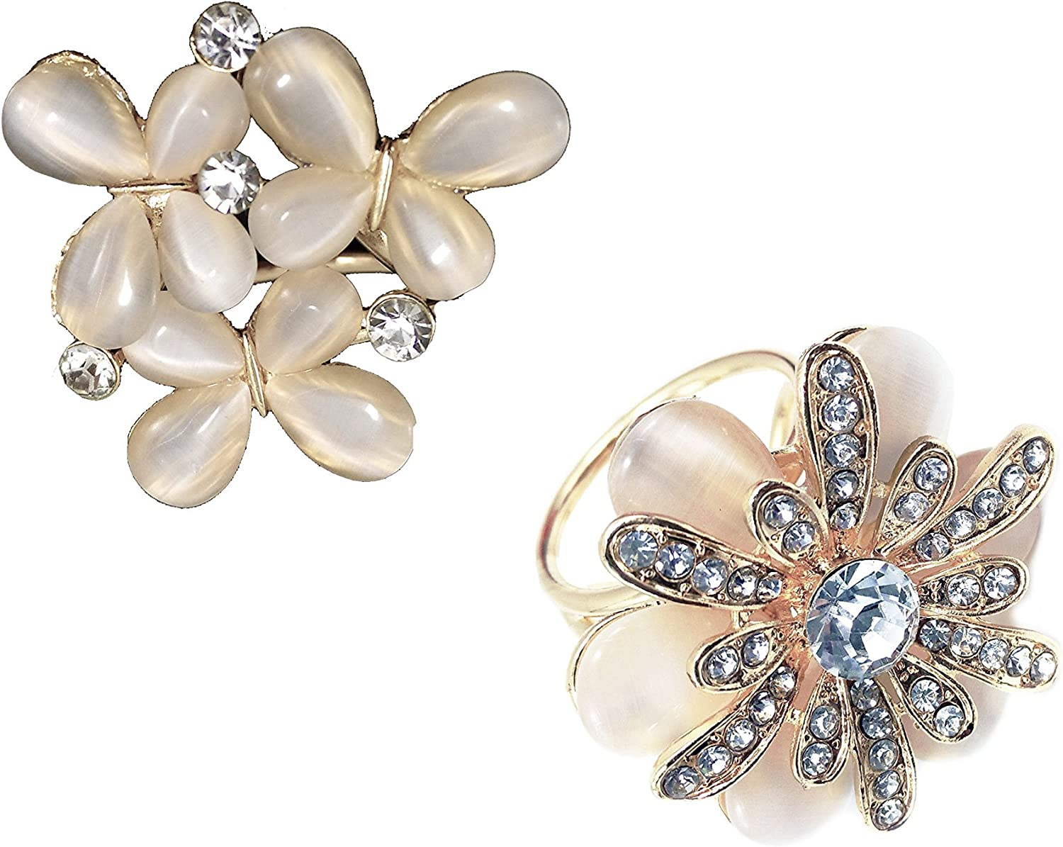 2Pack  gold Tone 1 Imitation Pearl Flower + 1 Imitation Pearl Butterfly Rhinestone 3Ring Scarf Ring Clip