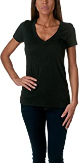 Next Level Apparel Women's Soft Deep V-Neck T-Shirt, Vintage Dark Black, XX-Large