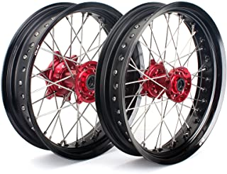 """TARAZON 17"""" & 17"""" Supermoto Complete Wheel Set Red Hubs Black Rims for Honda CRF250R 04-13 CRF450R 02-12 CRF250X 04-16 CRF450X 04-16 CR125R CR250R 02-13 Front and Rear wheels"""
