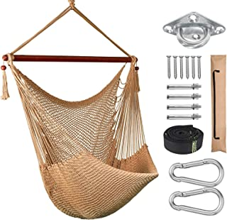 Greenstell Hanging Chair with Hanging Kits, Comfortable & Durable Swing Chair, 100% Soft-Spun Polyester Hammock Chair, for Indoor, Outdoor, Patio, Yard, Garden(120CM-Earth Tone)