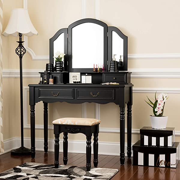 Fineboard FB VT06 BKV Elegant Vanity Set Makeup Dressing Table With 3 Mirrors And Stool 4 Drawers Black