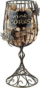 True Wine Glass Cork Holder, Decorative Wine Cork Storage and Decor, Set of 1, Rustic Bronze Finish