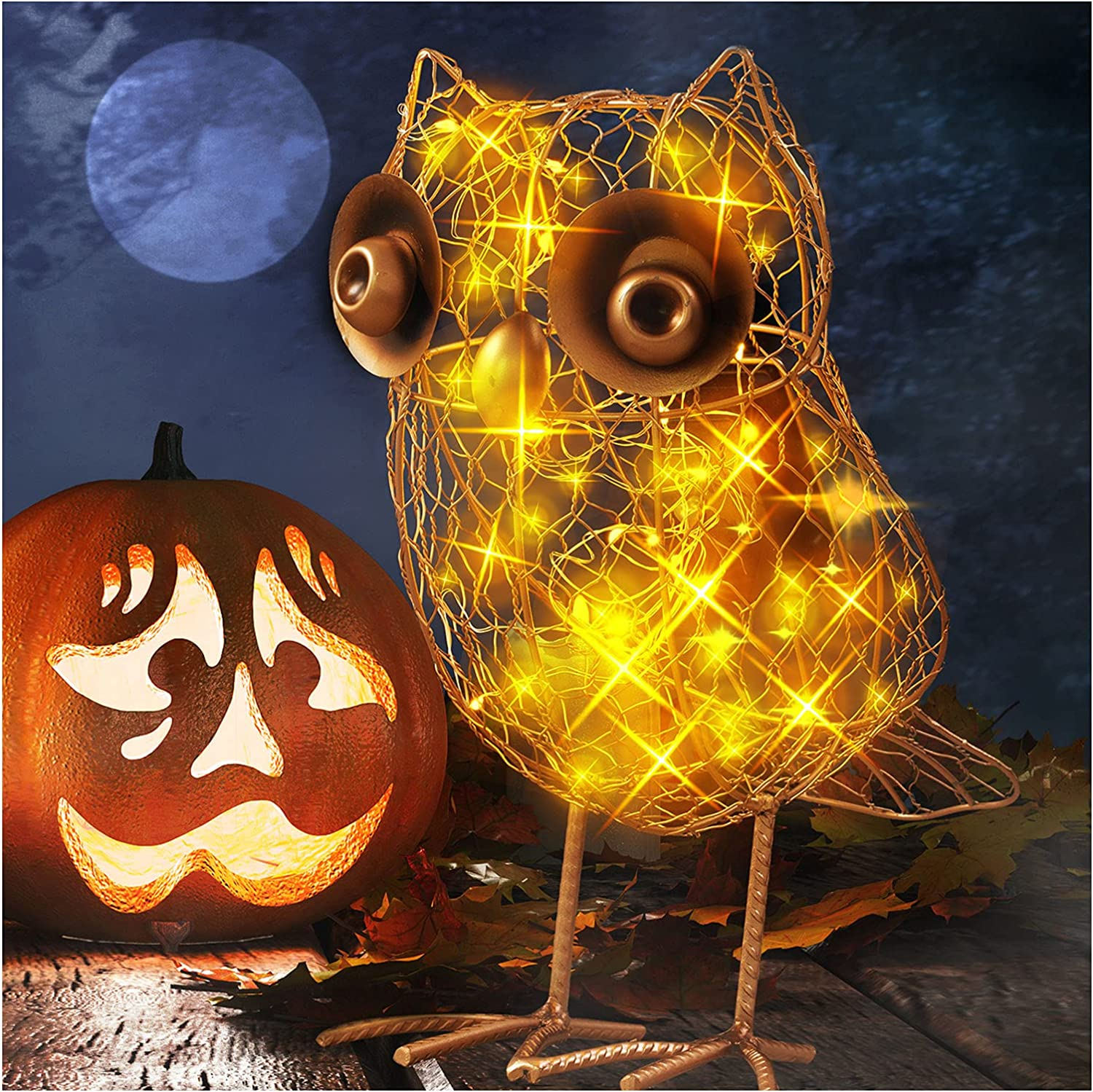 Metal A surprise price is realized Owl Decorations Solar Lights Outdoor Sales of SALE items from new works - for Gar Statues