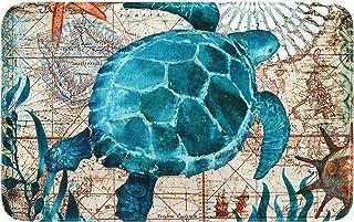 Best Uphome Sea Theme Foam Bath Mat Blue Turtle Rubber Non Slip Bathroom Rugs Flannel Coastal Navigation Map Bath Rug for Shower Floors, Summer Ocean Life Bathroom Decorations, 20x31 Review