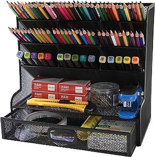 حامل القلم المنظم الشبكي متعدد الوظائف من Cmoni، منظم القلم للمكتب، 10 مقصورات لتنظيم أدوات سطح المكتب المكتبية، رف تخزين ...