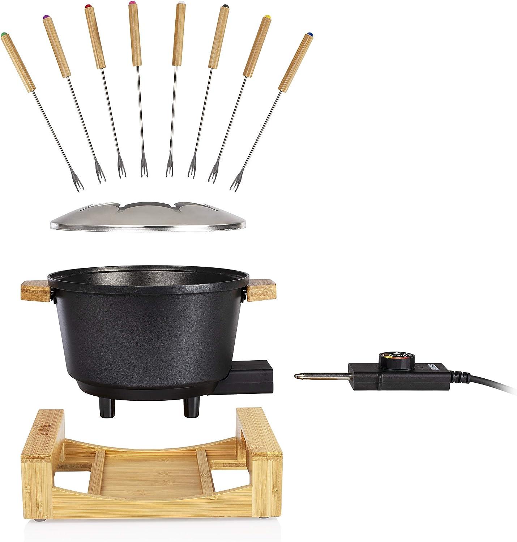 Princess Appareil à fondue Pure noir-Volume 1,5L-Habillage en bambou Noir