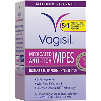 Vagisil Anti-Itch Medicated Feminine Intimate Wipes for Women, Maximum Strength, Gynecologist Tested, 12 Wipes in a Resealable Pouch