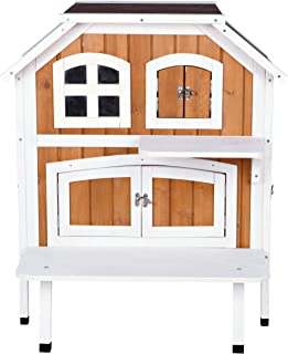 Trixie Pet Products 2-Story Cat Cottage, Brown/White