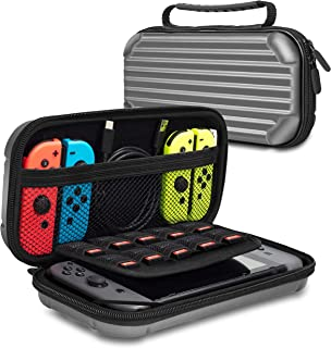 Lammcou Carrying Case for Nintendo Switch Deluxe Travel Case with 10 Game Cartridge Slot, Anti-fall Hard Shell Protective Case for Storage Nintendo Console & Accessories - Gray